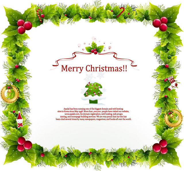 Free Floral Frame Christmas Card Template