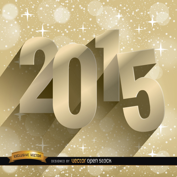 Free 2015 stars golden background