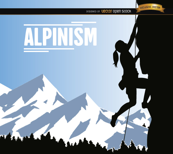 Free Alpinism woman background