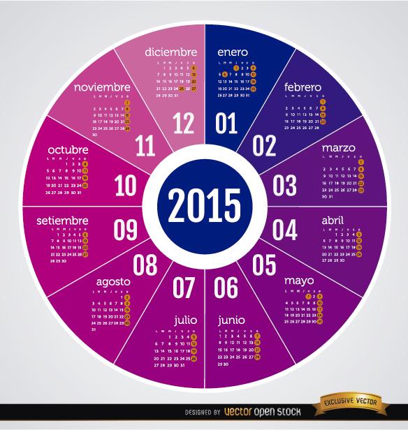 2015 Round calendar Spanish
