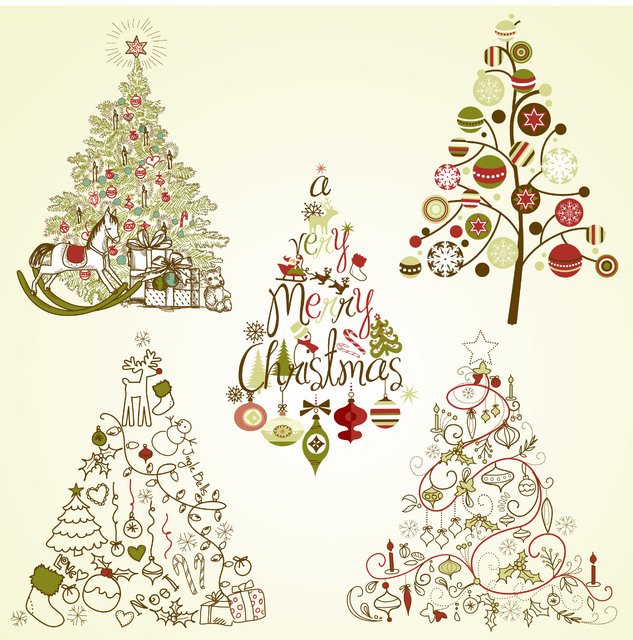 Free Decorative Vintage Christmas Tree Set