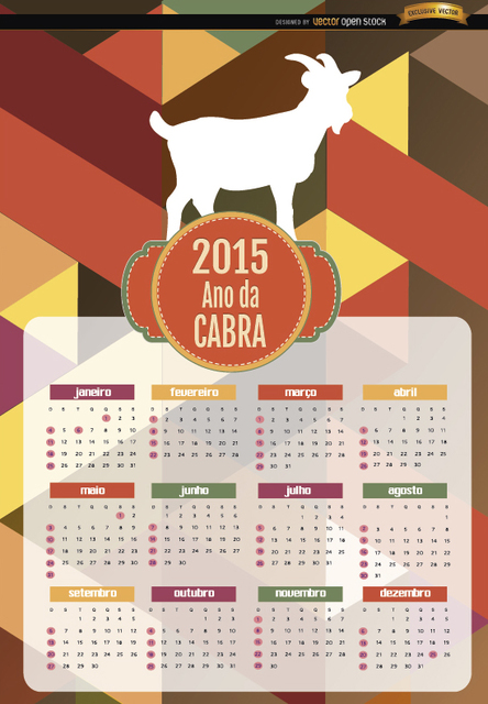 Free Vectors: 2015 Year of goat polygon calendar Portuguese | Vector Open Stock