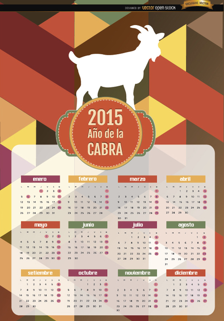 Free 2015 Year of goat polygon calendar Spanish