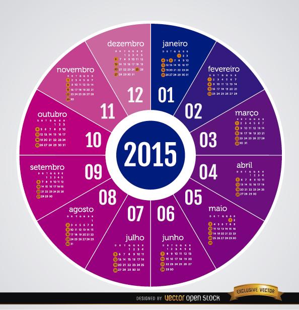 Free 2015 Round calendar Portuguese