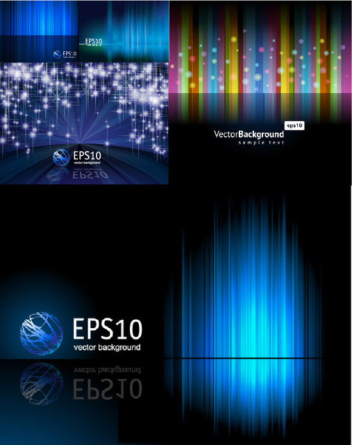 Blue Lines & Abstract Technology Background Set