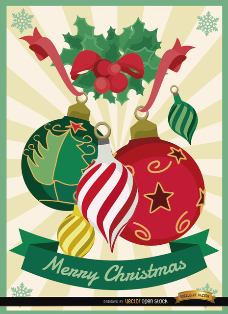 Free Christmas balls mistletoe background
