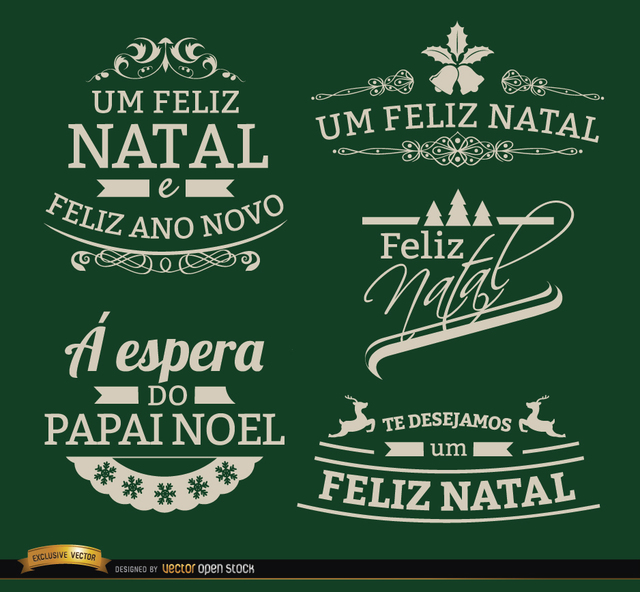 Free Vectors: 5 Elegant Christmas labels Portuguese | Vector Open Stock