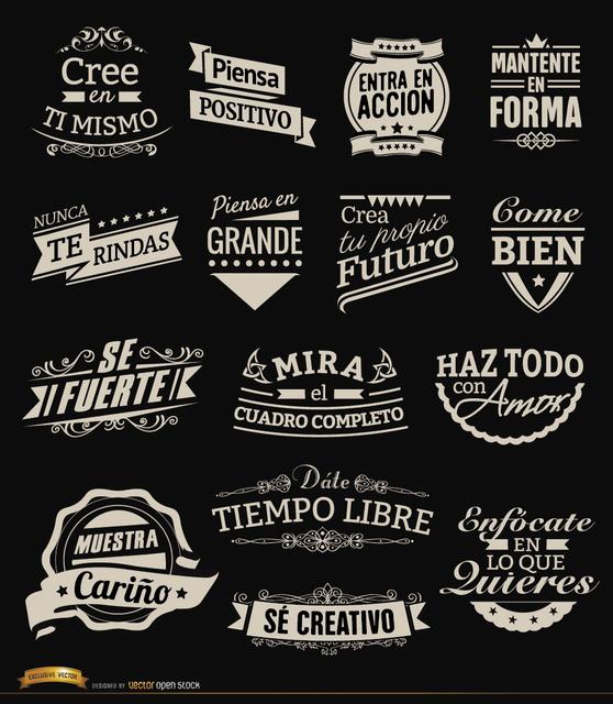 Free 15 motivational vintage labels badges Spanish