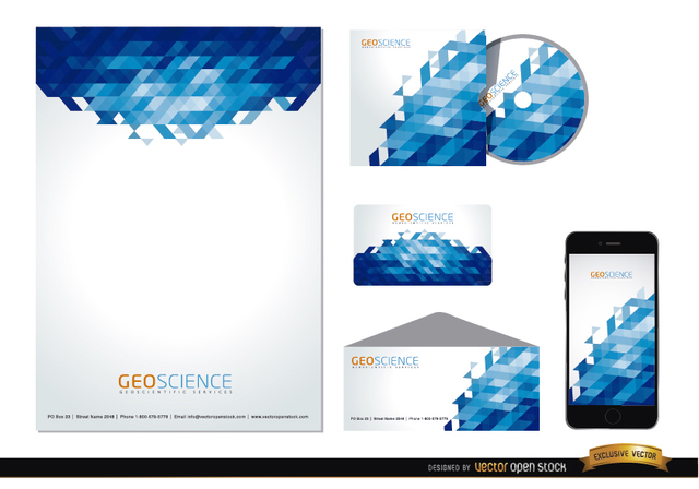 Free Stationery blue abstract design