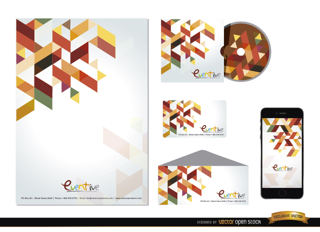Free Stationery colorful polygonal design
