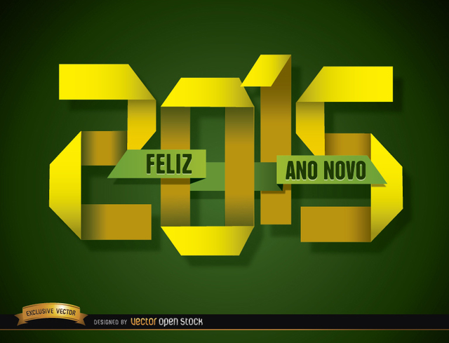 Free 2015 Folded paper happy new year Portuguese