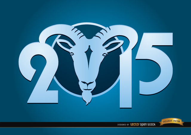 Free 2015 Goat Year blue wallpaper