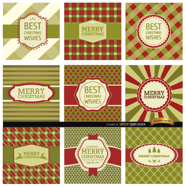 Free  9 Abstract Christmas label backgrounds
