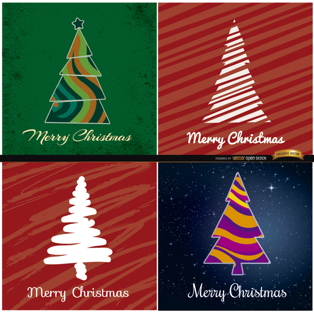 Free 4 Abstract Christmas tree backgrounds