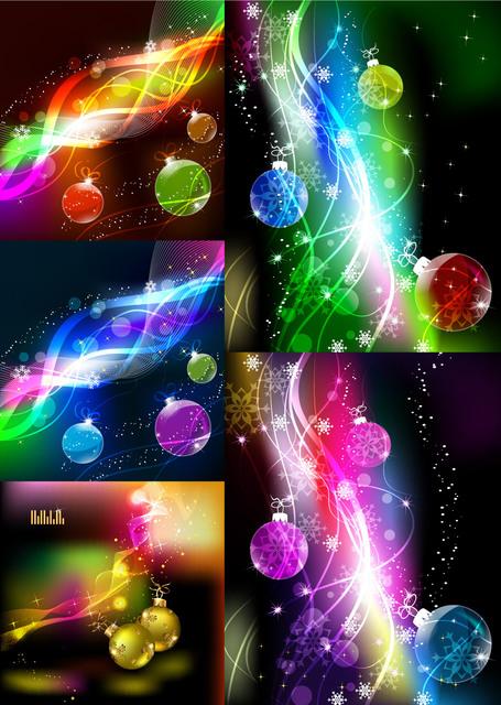 Free Stunning Colorful Christmas Background Set