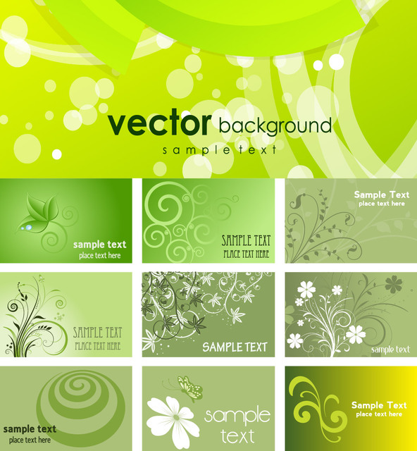 Free Green Eco Themed Business Card Pack