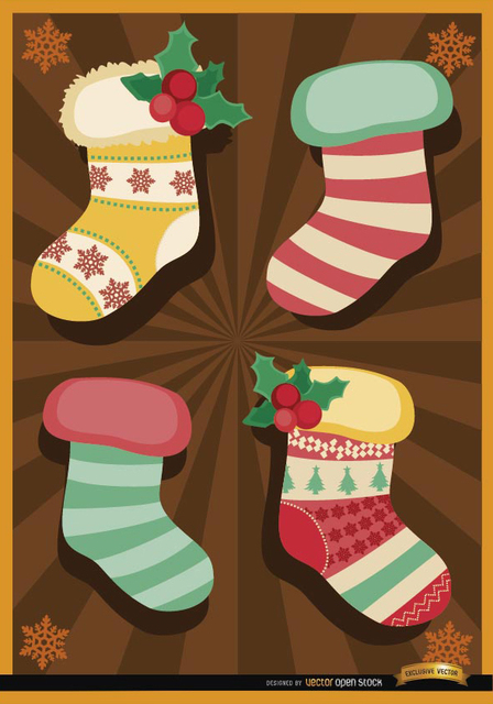 Free Christmas socks radial stripes background