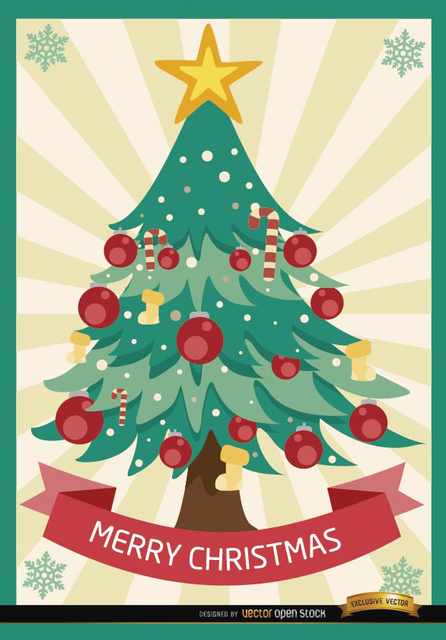 Free Merry Christmas tree radial stripes