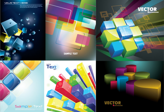 3D Colorful Cubes & Squares Background Pack