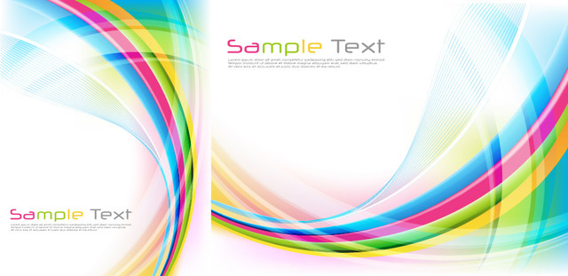 Free Glossy Colorful Waves & Spiral Lines Background