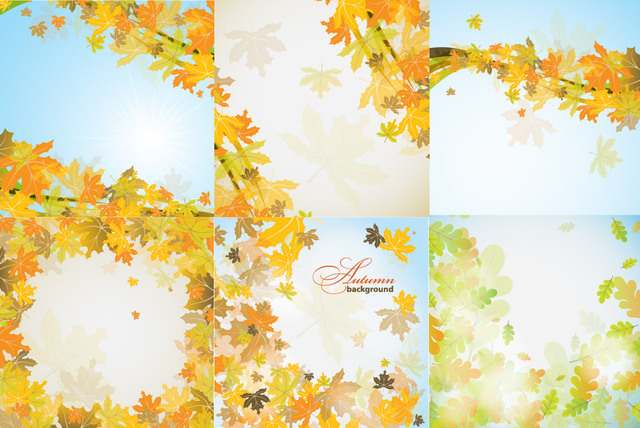 Free Vectors: Fallen Autumn Leaves Frame & Background Pack | Temotato