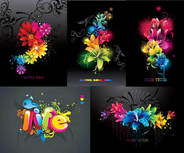 Free Creative Colorful Floral Background Pack