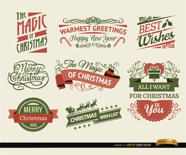 Free Vectors: 8 Christmas Ribbons and labels | Vector Open Stock