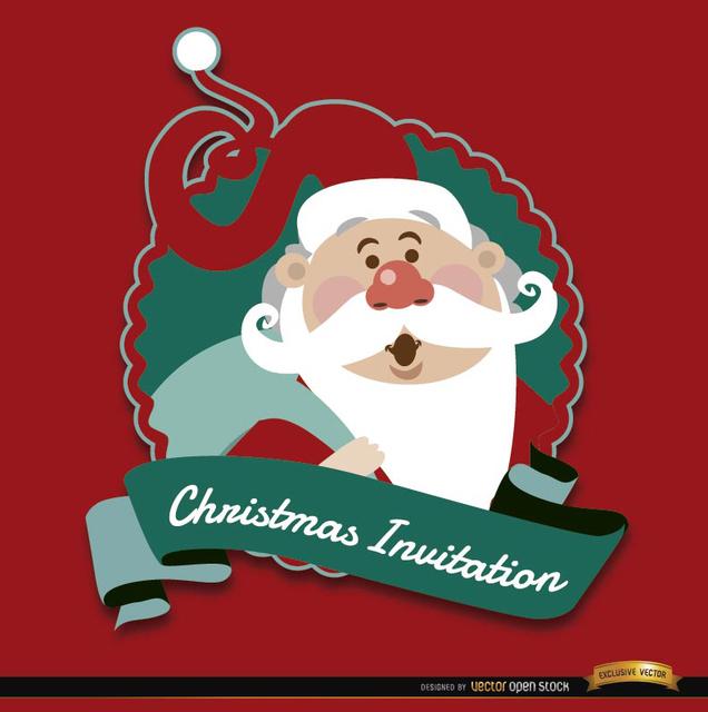 Free Christmas red Santa invitation label