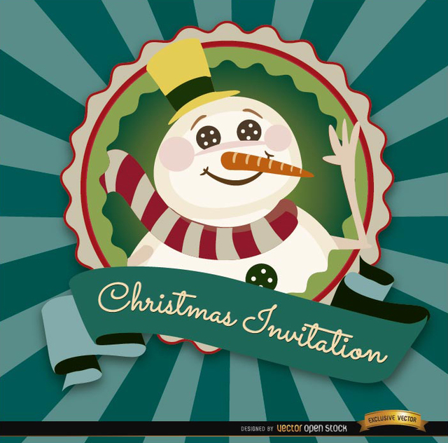 Free Christmas snowman invitation label
