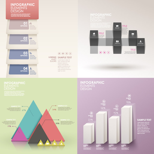 Free Classic Style Light Colored Infographic Set