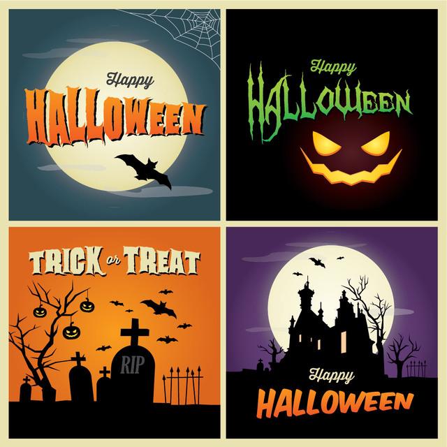 Free Vectors: Halloween Poster Background Set | CGvector