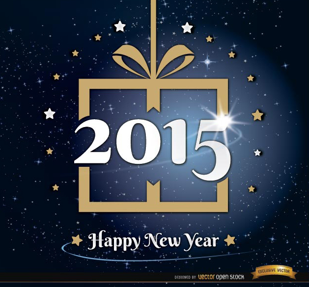 Free 2015 New Year gift stars background