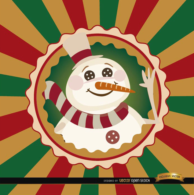 Free Christmas snowman round label background