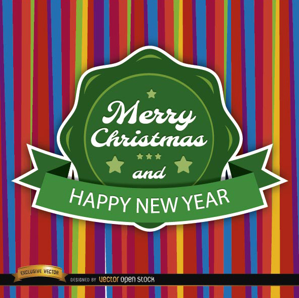 Free Christmas colorful card round label