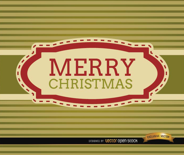 Free Merry Christmas stripes riband card