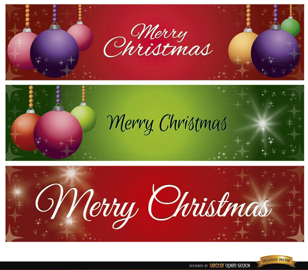 Free Vectors: 3 Christmas balls glitters banners  | Vector Open Stock