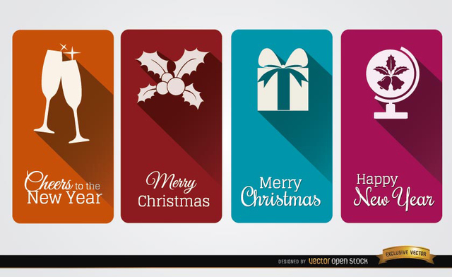 Free 4 Christmas celebration vertical cards