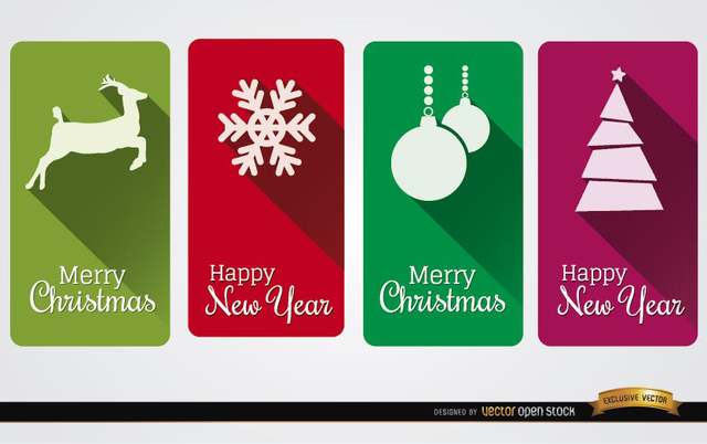 Free 4 Christmas vertical cards