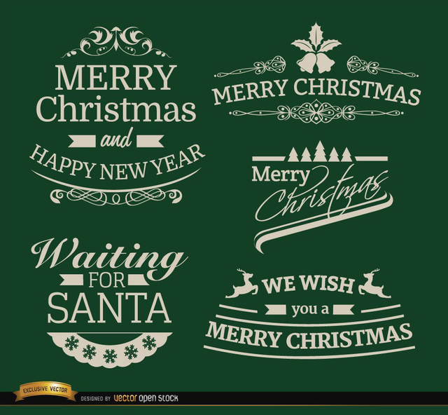 Free 5 Elegant Christmas labels