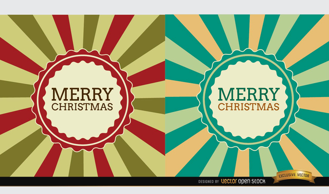 Free 2 Christmas radial stripes label background