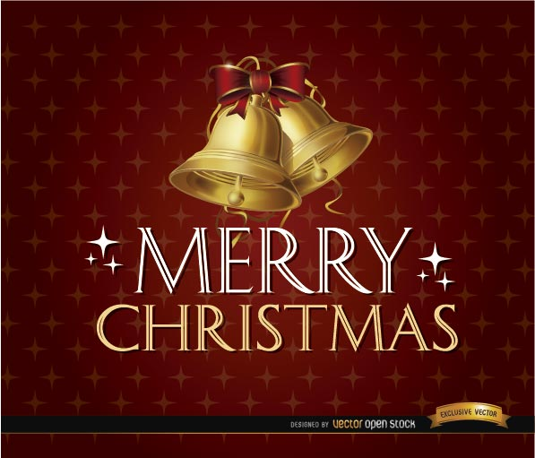 Free Merry Christmas glitters bells background