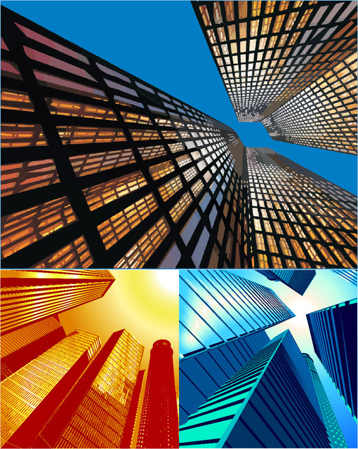 3 Beautiful Abstract Sky View City Buildings