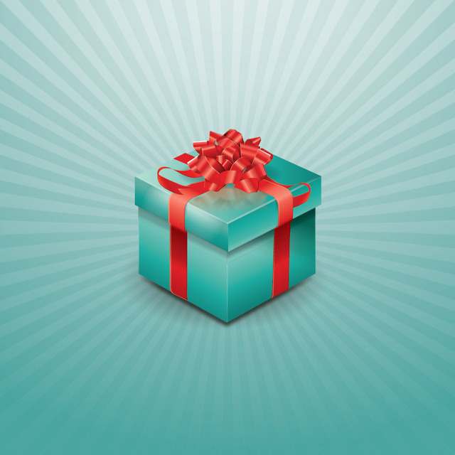 Free Wrapped Up Gift Box on Starburst Background