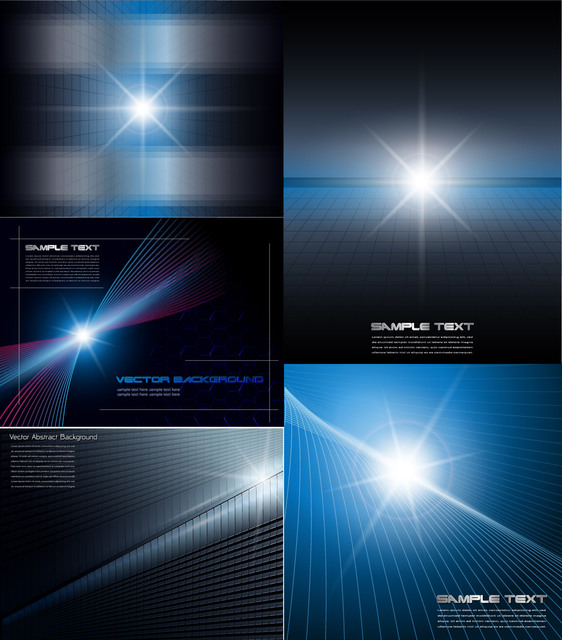 Free Glowing Light Abstract Dynamic Background Set