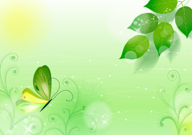 Free Spring Green Floral Background with Butterfly
