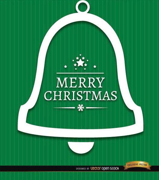 Free Merry Christmas bell green background