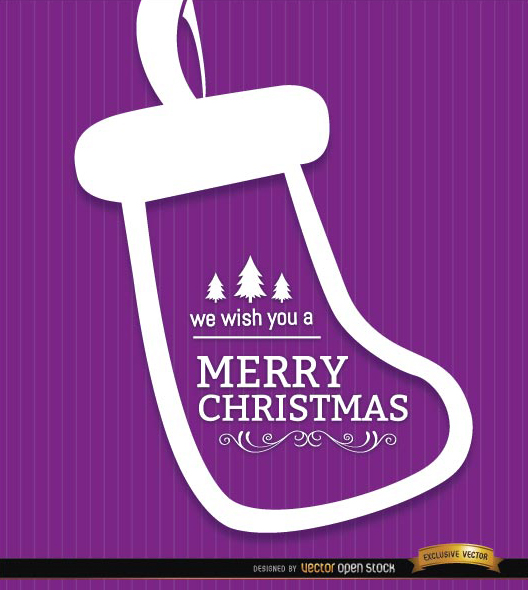 Free Merry Christmas sock purple background