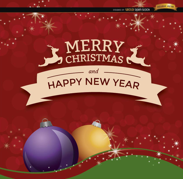 Free Christmas New Year ribbon background