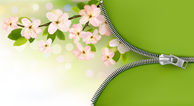 Free Green & Pink Floral Tree Branch Zipper Background