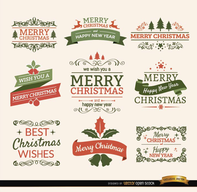 Free Merry Christmas ribbons and labels set